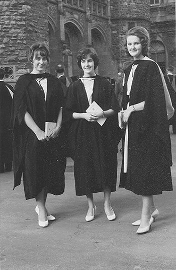 Meredith Hooper (far right) at her graduation in 1961