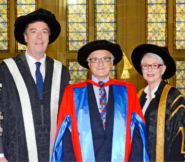 Professor Paul Zimmet, Interim Vice-Chancellor Mike Brooks & Deputy Chancellor, Catherine Branson QC