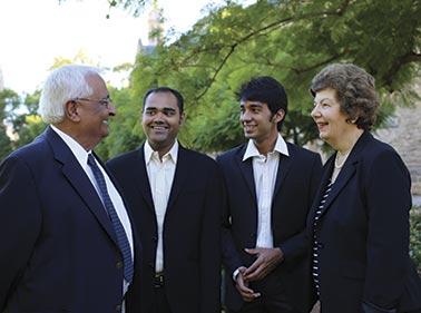 Professor Ashok Khurana and Rosemary Khurana with Rohan Yargop and Quresh Vasanwala (photo by Ben Osborne)