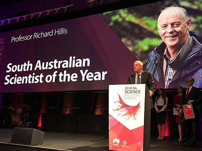 Professor Richard Hillis at awards ceremony