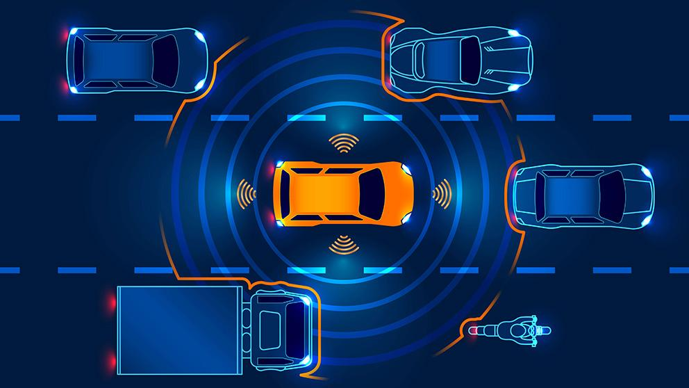 Autonomous or driverless vehicle in traffic
