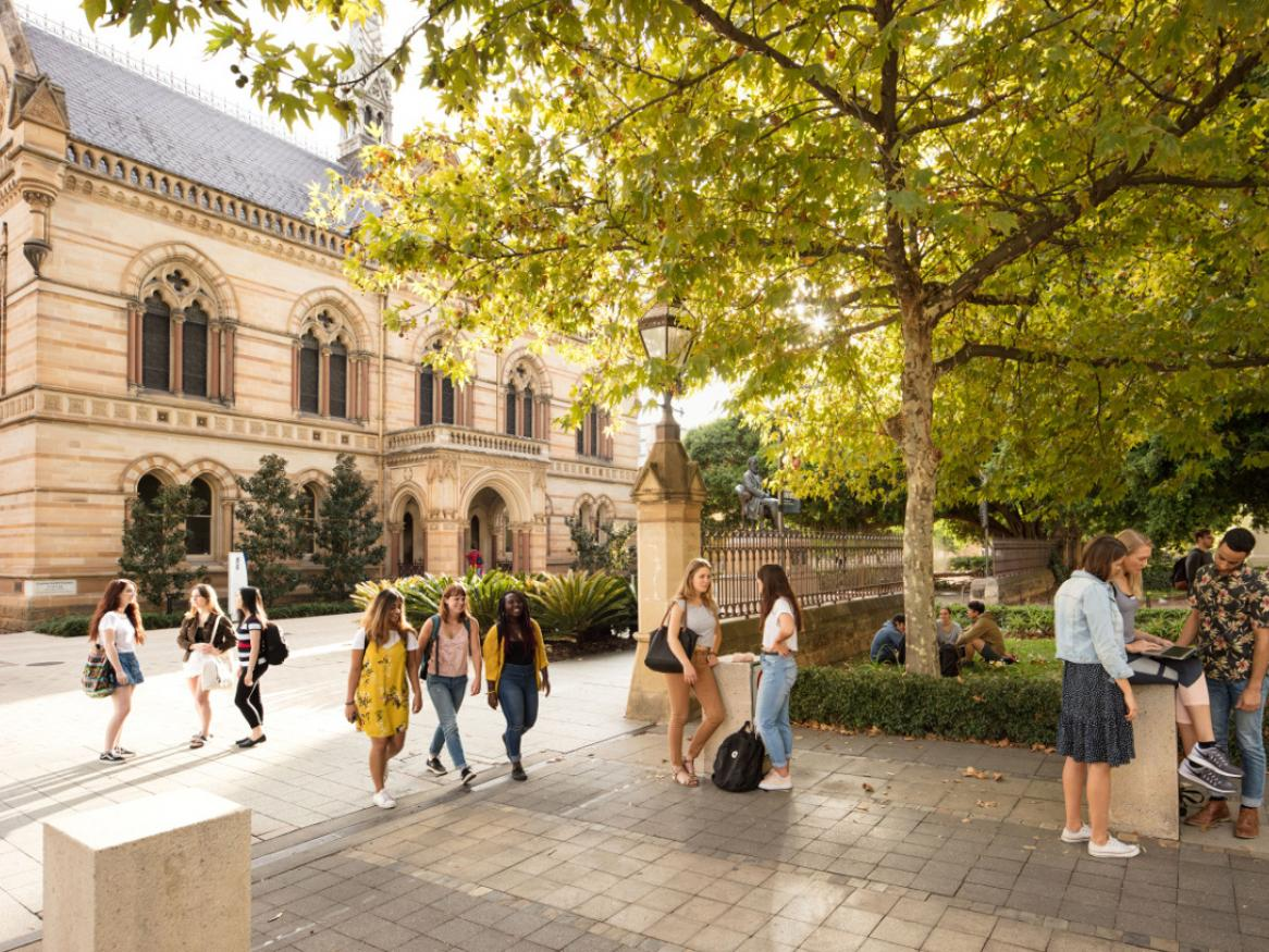 Students at the University of Adelaide's North Terrace campus