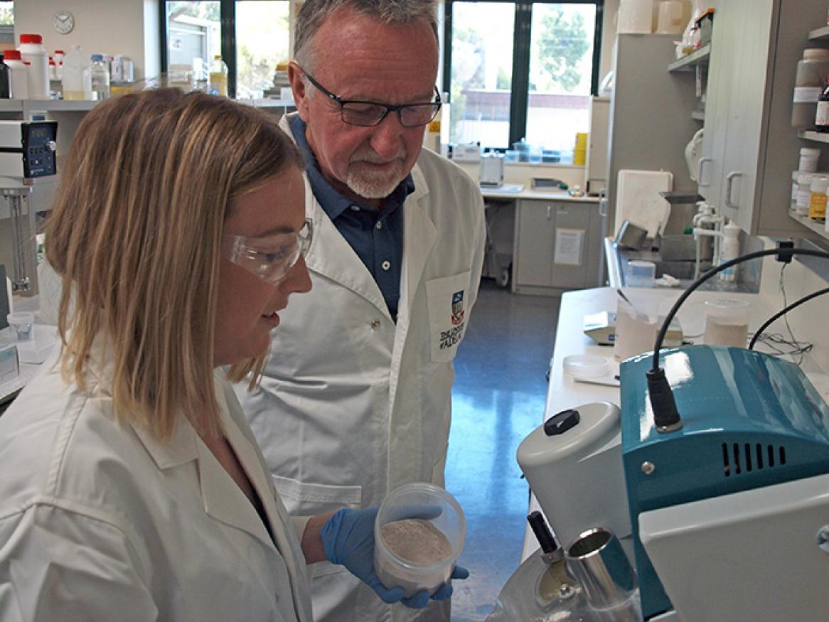 Ashleigh Panagaris and Professor Mike McLaughlin in the Fertiliser Technology Research Centre