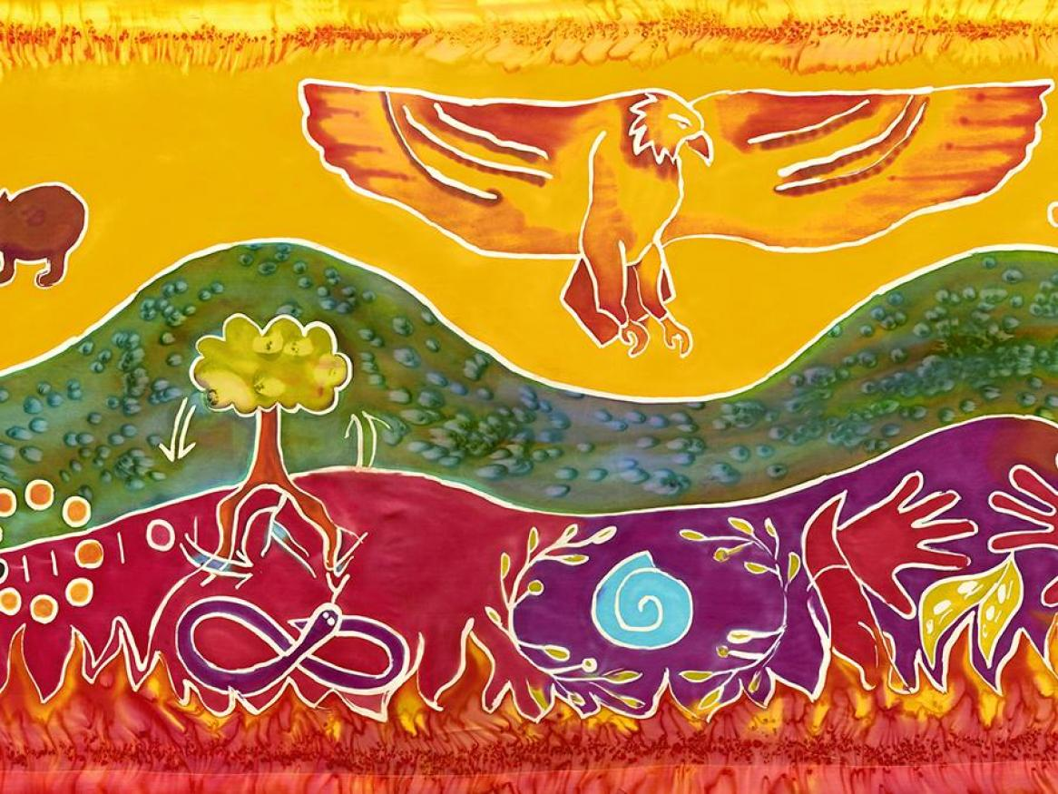 Reconciliation silk painting