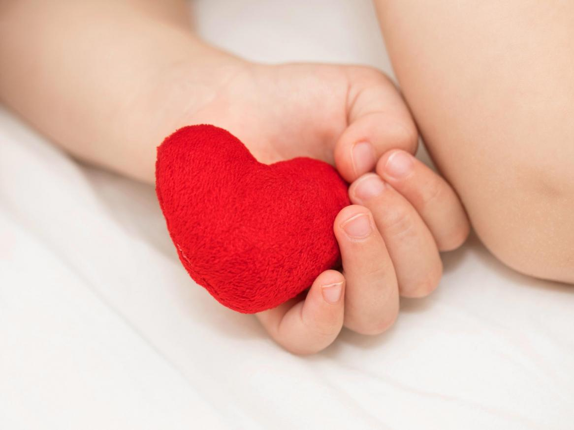 Baby holding toy red heart