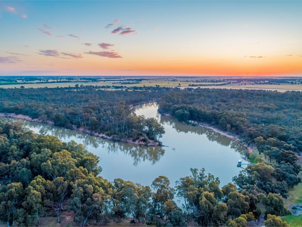 Murray river aerial shot. Image credit to iStock.
