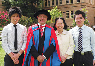 Lieutenant Governor of South Australia and honorary doctorate recipient Mr Hieu Van Le with his family