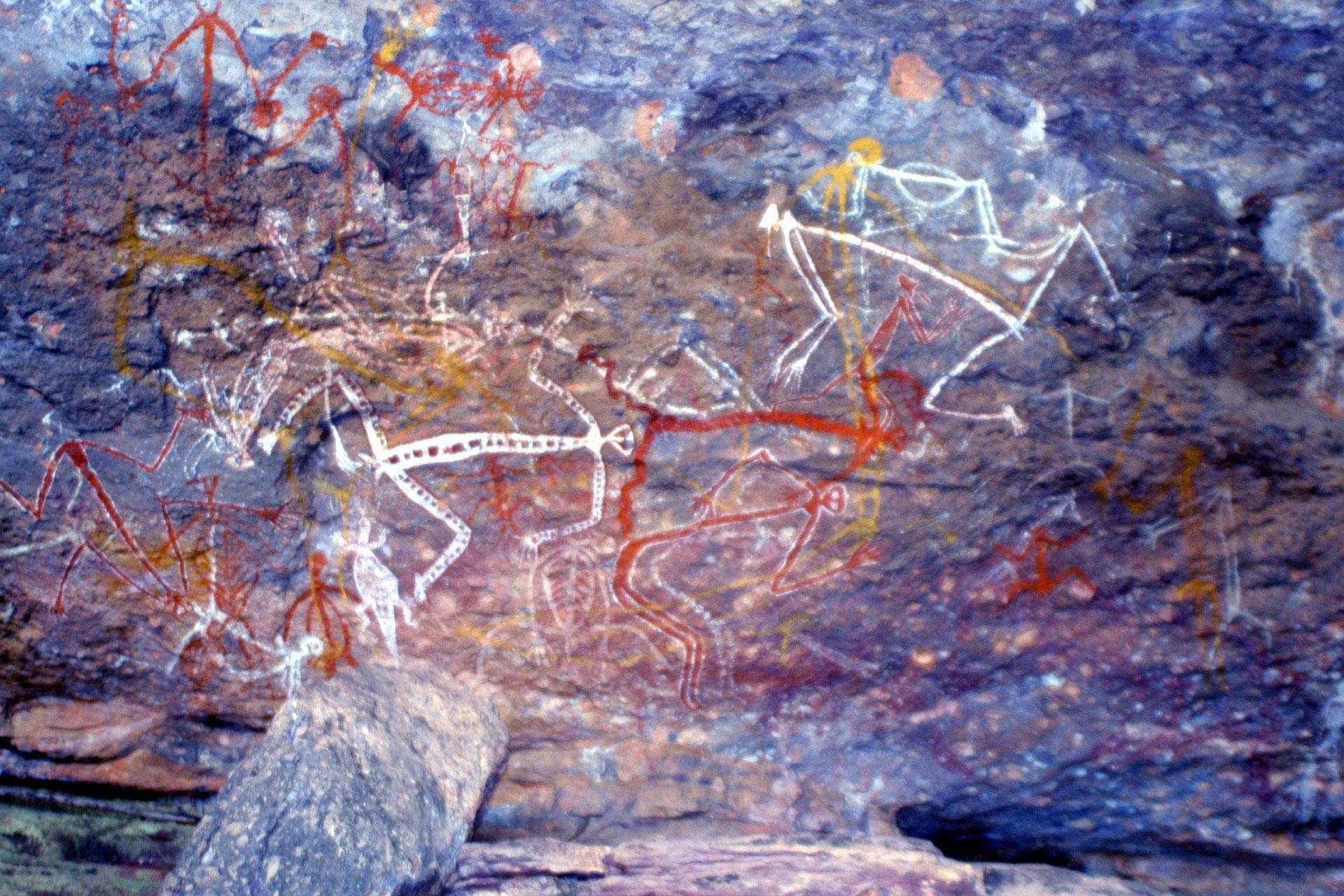 Aboriginal rock painting graphic - links to spirituality page