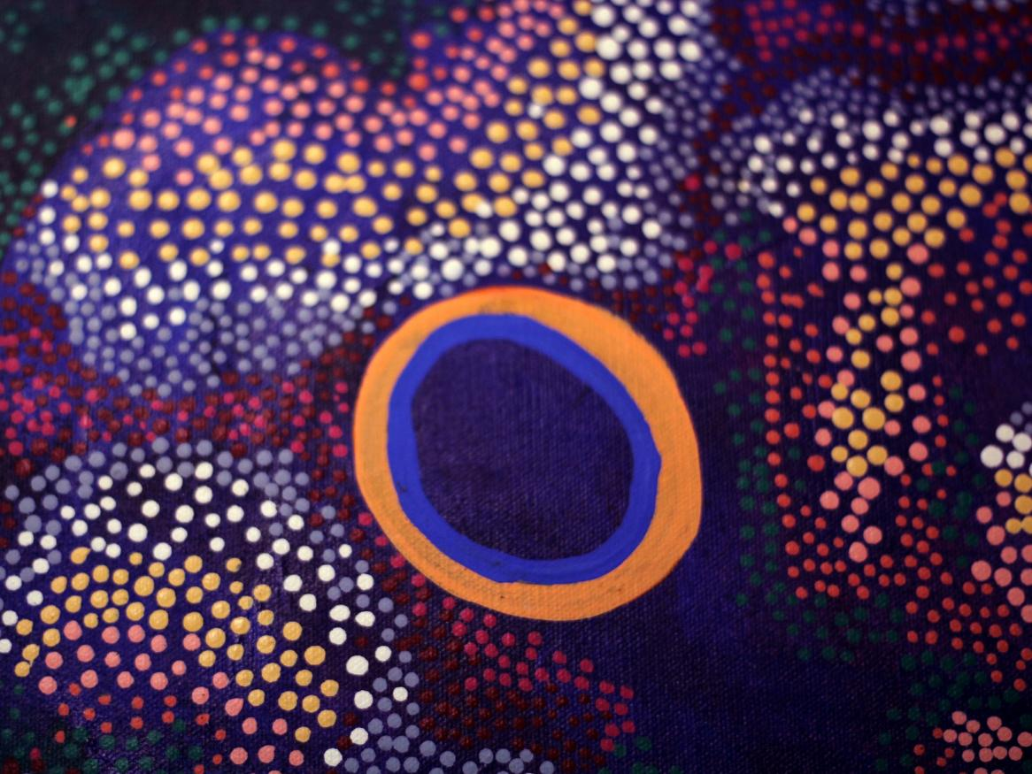 aboriginal dot painting graphic - links to values page
