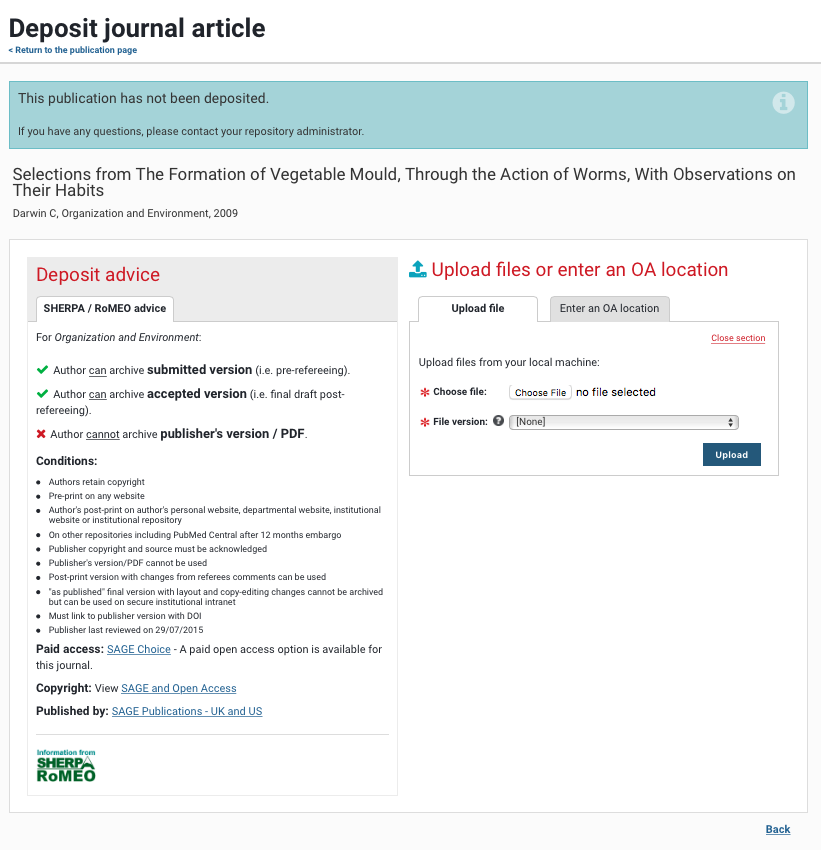 You can upload copies of your publications using the Deposit function in Aurora