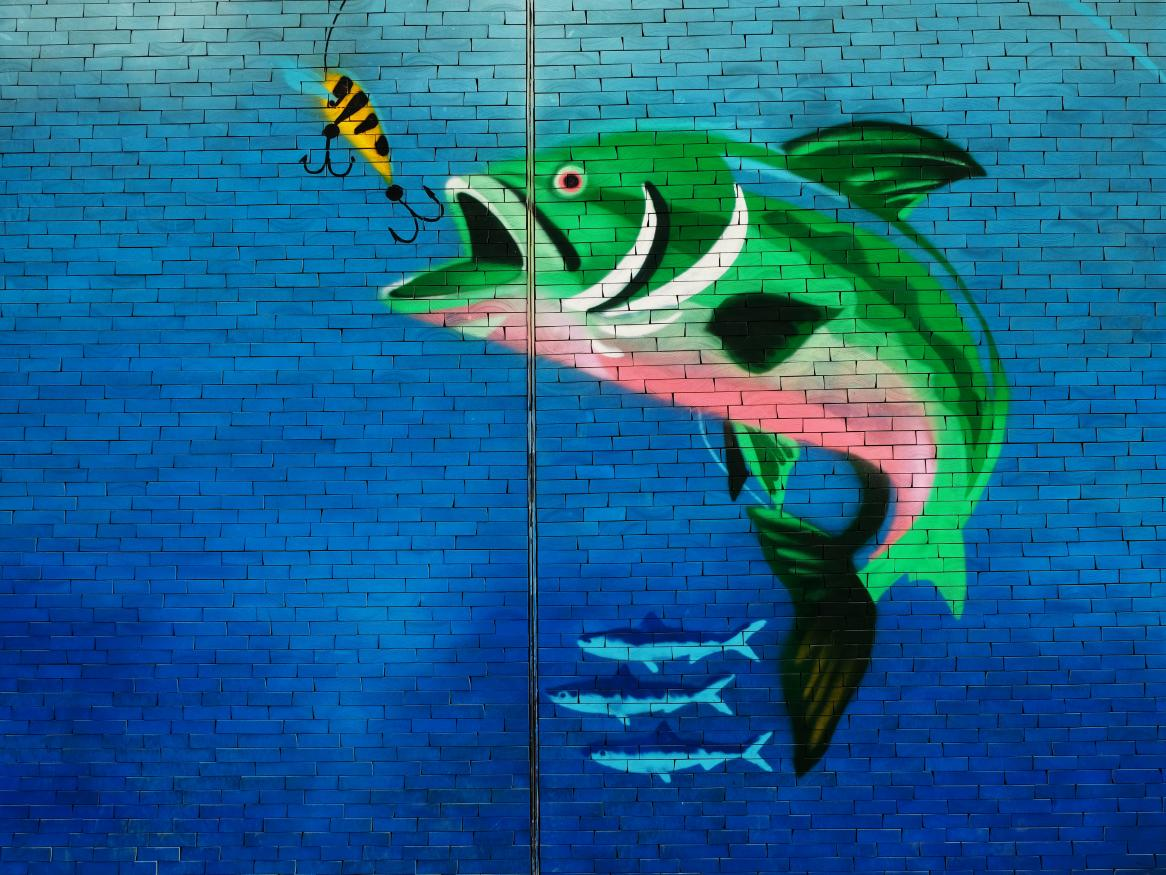 Painting of a fish about to bit a hook