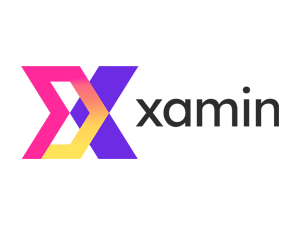 Xamin logo with a large X in gradient colours of Pink, Yellow and Purple