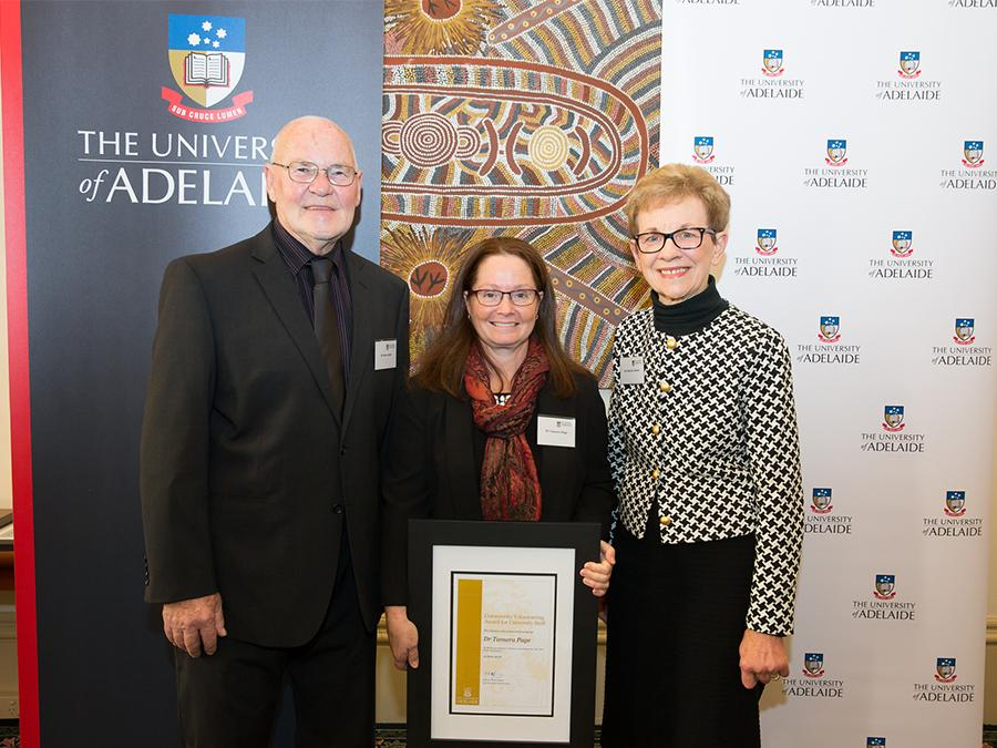 2018 Community Volunteering Award winner Dr Tamara Page with donors Marilyn and Ron Seidel