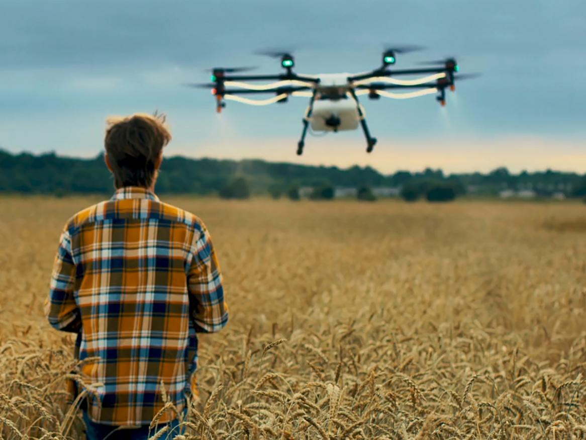 drone over crops