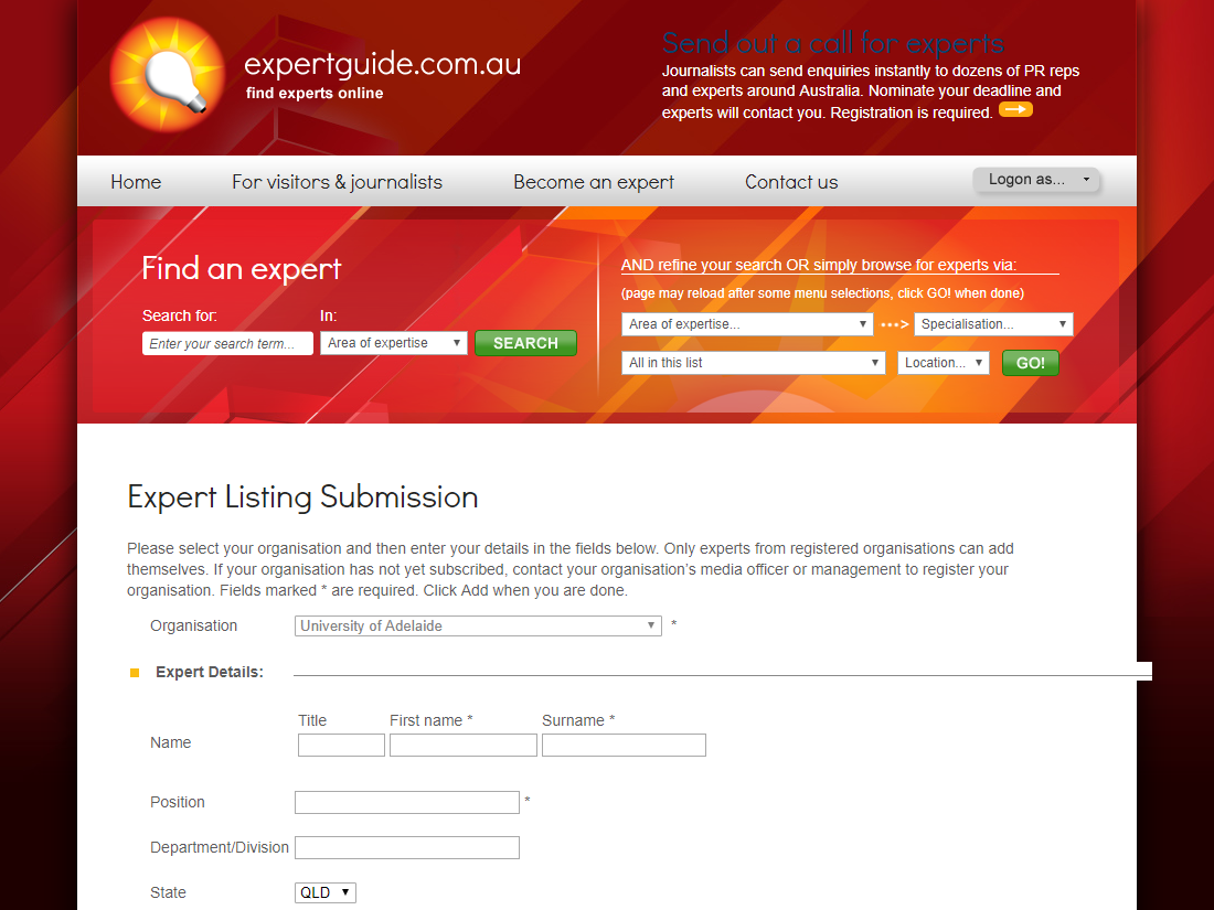 Expert listing submission form