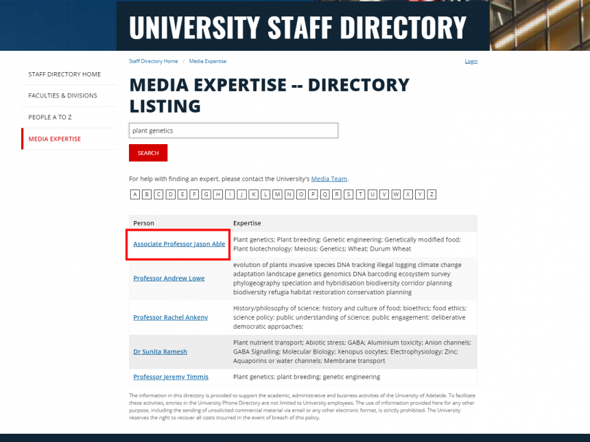 Media expertise search results