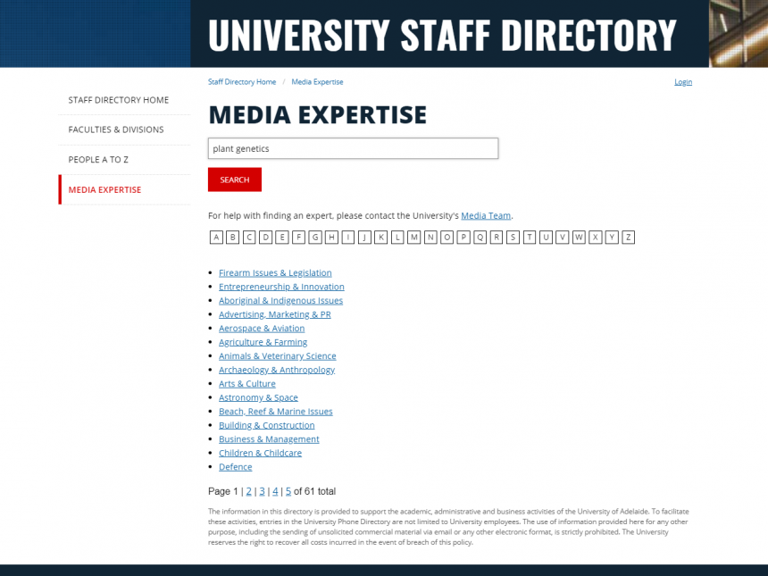 Media expertise search field