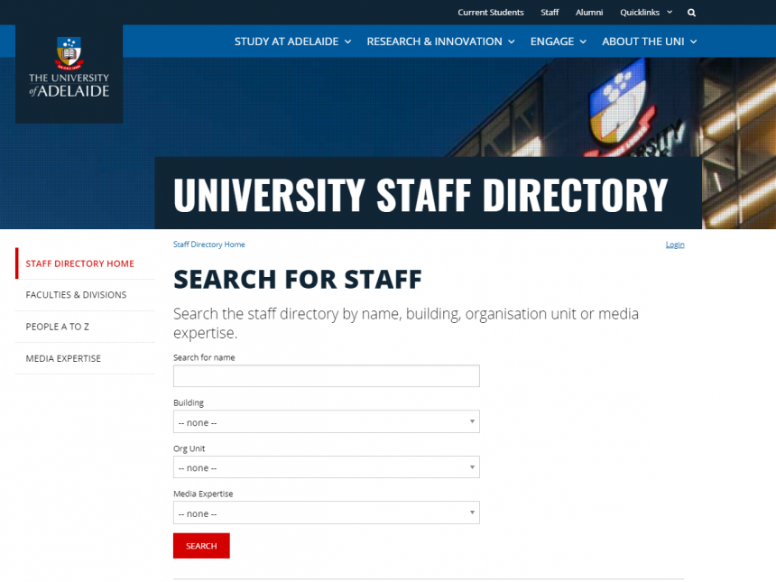 Staff directory homepage